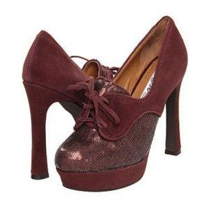 New Naughty Monkey Lady Jam Brown Heels Size 6.5